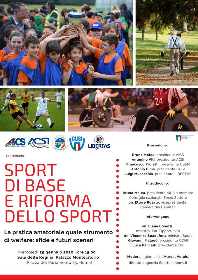"""Mercoledì 29 Gennaio """"Sport Di Base E Riforma Dello Sport"""""""